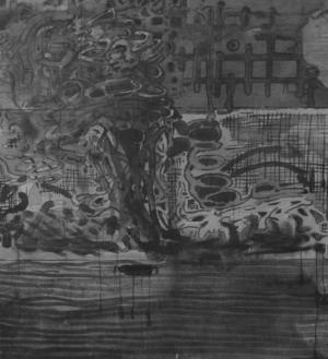 Ett svampmoln från Sovjetunionens hemliga provsprängningar av kärnvapen efter andra världskriget. Tuschmålning av Markus Anteskog.