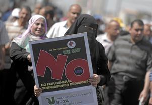 Kvinnokamp. I Gaza finns många organisationer som arbetar för kvinnors rättigheter. De palestinska kvinnorna syns ofta först i demonstrationstågen.Arkivfoto: Khalil Hamra/TT/AP