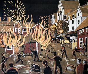 Dramatisk brand på Åre torg på 1940-talet, en vacker batik (!) av Hartman, gjort på 1970-talet.