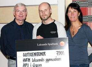 Från vänster Carl-Erik Joon, läraren Marcus Andersson och Anneli Morberg.
