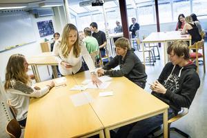 Evelina Trapp är en av Fjällgymnasiets EU-ambassadörer och delade ut uppgifter inför en rollspelsövning på europadagen.