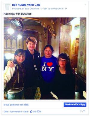 Izabela Iosif, Arina Stoenescu (Sara Olaussons rumänska vän och guide), Felicia Iosif coh Sara Olausson på besök i Bukarest där Sara Olausson ställer ut. Ur