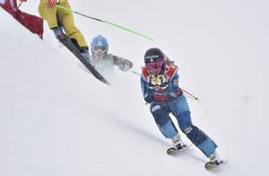 Sandra Näslund på väg mot en blivande tredjeplats på Idre Fjäll.