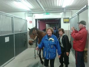 Första hästen, Buster, inne tillsammans med ridskolechef Lena Nilsson.
