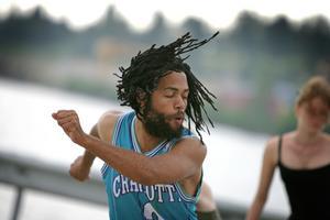 Streetdance i hamnen med Caldon Thomas (augusti 2007).