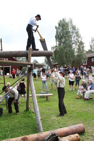 Per-Olof Elfstrand och Lasse Jonsson sågar brädor på gammalt vis, framför många nyfikna besökare.