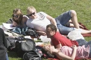 GREP TILLFÄLLET. Elin Walhem, Linus Partanen, Andreas Furucrona och Veronica Rova tog vara på tillfället och lapade sol i Kvarnparken i centrala Gävle under lördagen.