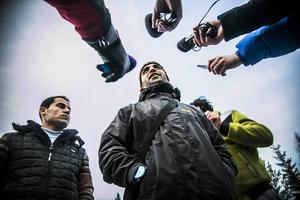 Många journalister ville prata med Moaweyh Ramly under fredagsförmiddagen.