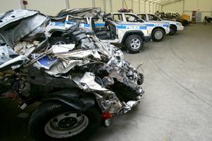 Kvaddade polisbilar är några av de föremål som ställs ut på 911 memorial museum.