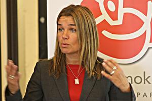 Socialdemokraternas distriksordförande i Jämtland, Anna-Caren Sätherberg, deltog också i presentationen.