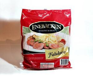 """EnebackenTillverkare: Ingemar Johansson chark, GöteborgPris/kilo: 28,10Inköpsställe: LidlUrsprung: Framgår ej (Sverige och Danmark enligt företagets hemsida)Innehåll*: E450, natriumnitritUppgiven kötthalt: 64%Kommentar: """"stekytan blev som ett skinn"""", """"släpper mycket fett"""", """"hemsk stekyta"""", """"godkänd smak""""Betyg: 2"""