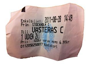 Enkel tågresa Stockholm-Västerås. Förra månaden 122 kronor. Nu 135 kronor. FOTO: MALIN MARCUSSON