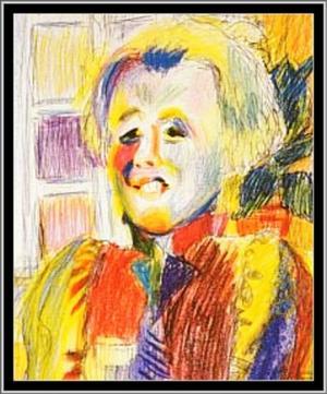 Ester Henning (1887–1985). Porträttet har hon gjort i pastellkrita.