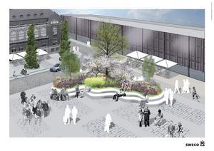 Liten trädgård med sittplatser. Så här tänker sig en av arkitektfirmorna att det kan se ut mellan Igor och Stadshotellet.