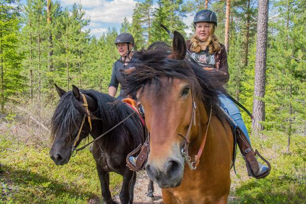 Helena och Britta Bräutigam är på en tredagarskurs i beridet bågskytte.
