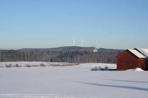 PÅ PLATS. Så här kommer det att se ut när de två vindkraftverken är på plats på Vettåsen. Bildmontage gjort av Eolus Vind.