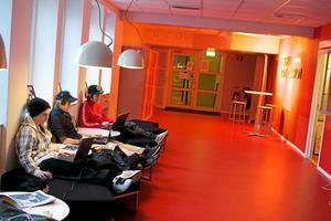 Bakåtlutat. Tobias Hägg Wickman, Elias Albertsson och Tim Litén jobbar i Design & Construction Colleges annorlunda miljöer.Foto: Sebastian Zuniga Diaz