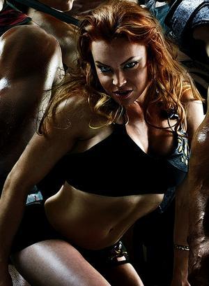 Lina Eklund som gladiatorn Lynx.