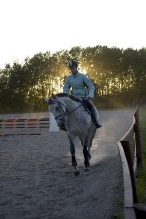 Bilden Höstryttare får andrapriset. Min syster som rider på hästen Totte en fin septemberkväll.