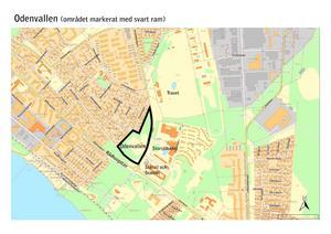 Inom det markerade området, i Odenvallen, kan vara lämplig för bostäder, anser Östersunds kommun.