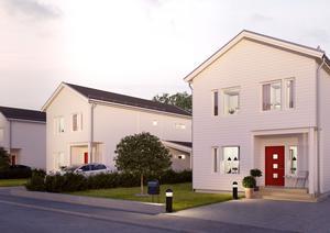 Kedjehusen i Hallstahammar blir snarlika dessa, som Obos redan byggt i Östra Bärstad, Örebro. Husen i Hallstahammar är tänkta att ha andra kulörer.