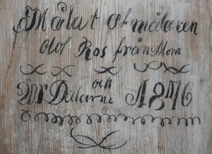 Dekorationsmålarens visitkort på insidan av dörren.