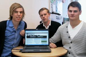 Så här ser hemsidan ut på nätet. Björn Håkansson, Dennis Pettersson och Joel Norén hoppas nu mycket på sin idé.