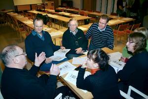 Diskussion om giftfri miljö. Nore Berglund, Claes Schneider, Göran Östling, Jan Malmgren, Ulrika Ingvarsson, Agneta Turesson och Pernilla Marberg.