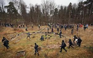 Demonstranterna lyckades jaga iväg nazisterna mot en skog, där de skingrades. Foto: Hampus Andersson / TT