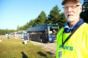 Den bussigaste mannen i Böle, Jan-Erik Eriksson är ansvarig för att busstrafiken mellan O-ringencampingen och etapperna fungerar.