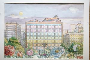 Orealistisk harmoni, en skildring av en del av Eskilstuna (akvarell) där Per-David Nygren bodde tidigare.