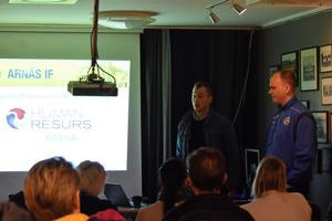 Under informationsträffen på Höglands IP presenterades det nya arenanamnet: Human Resurs Arena. Till vänster Jonas Alexandersson, Human Resurs och till vänster Peter Sundberg, Arnäs IF.