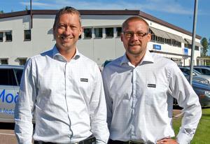 –På andra platser där vägar fått Europavägsstatus har det varit positivt för företagen vid vägen, säger Tommy Larsson och Fredrik Rozén, glad över att riksväg 71 nu blir Europaväg 16.