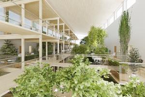 Mellan de två huskropparna skapas en inglasad innegård med loftgång.