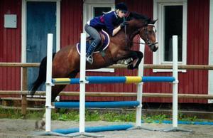 """Sommaren innebär många tävlingar för Alexandra Esbjörnsdotter och hennes hästar. Därför blir det sparsamt med hårda träningspass. """"Jag brukar hoppa ungefär en gång i veckan"""". Här tränar hon med ponnyn Calippo."""