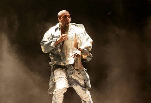 Kanye West på Glastonbury-festivalen för ett par veckor sedan.