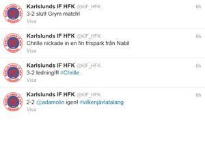 Karlslunds officiella twitter under den spännande avslutningen på 16-delsfinalen.