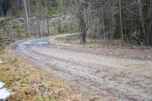 Gårdbergsvägen är smal och bitvis i dåligt skick.