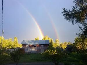 Dubbel regnbåge i Bergsviken, Svenstavik.