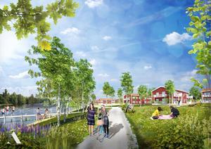 Så här tänker sig Aedis Arkitekter att det strandnära området i Morgårdshammar ska se ut om några år.