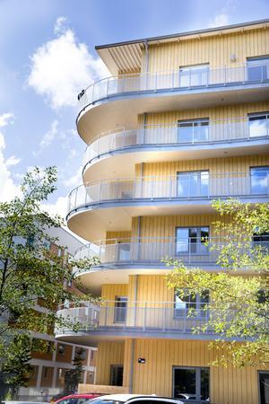 På Öster Mälarstrand finns Västerås högsta trähus i sex våningar, ett exempel på de nya hus som nu byggs i Västerås.