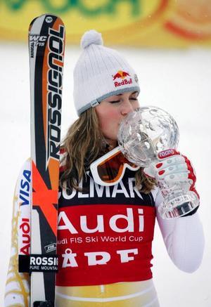 Lindsey Vonn, USA, säkrade segern i den totala världscupen efter vinsten i går.