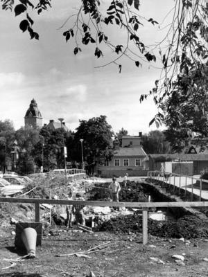 Arkeologer vid Klippans parkering, som förr kallades Lundahlska jorden.