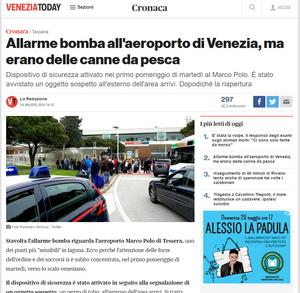Venezia Today skriver om bomblarmet på flygplatsen Marco Polo.
