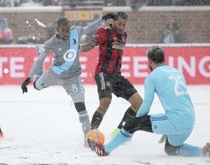 Mohammed Saeid, här i en snöig match för Minnesota mot Atlanta, har blivit bortbytt till Colorado.