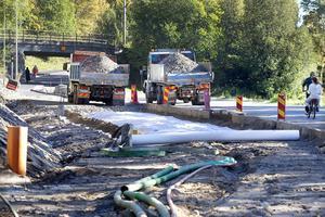 Målsättningen är att cykel- och gångvägen mellan Varvsgatan och Humlegatan ska bli klar i år.