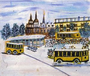 STORTORGET I GÄVLE med bussar och byggnader som det uppfattades av
