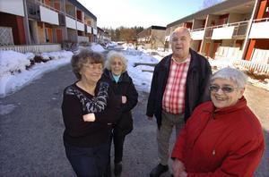 Britta Andersson, Ingrid Andersson och Göran och Brita Malm är grannar på Granbergshöjden.