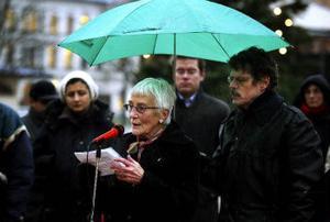 – Vår invandrarminister är utbildad sociolog men arbetar mot humanistiska, medmänskliga värden, sa Karin Hasselgren som företrädde sig själv.