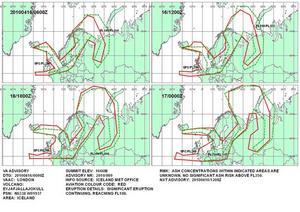 Dålig prognos. Askmolnets förväntade spridning syns på dessa väderkartor från brittiska meteorologer. Tidpunkterna är angivna i UTC- eller så kallad Zulutid, Z-tid, som är två timmar efter svensk tid. Som synes täcker askmolnet stora delar av Sverige och norra Europa och omöjliggör förmodligen flygtrafiken.